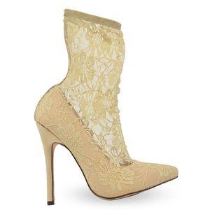 Women's Slip On Pointy Toe Nude Lace Sock Bootie